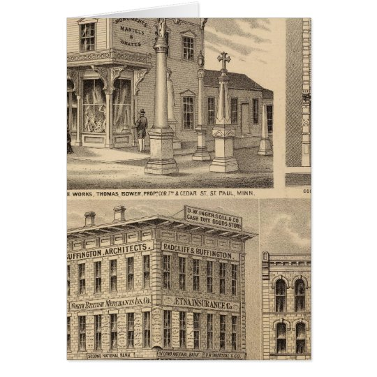 St. Paul, Minneapolis, Minnesota Lithograph Map Card