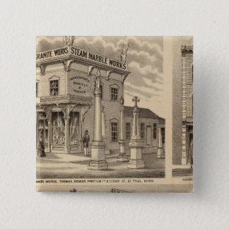 St. Paul, Minneapolis, Minnesota Lithograph Map Pinback Button