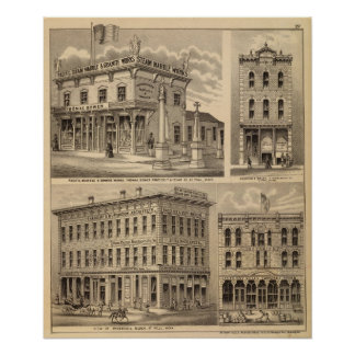 St. Paul, Minneapolis, Minnesota Lithograph Map Posters