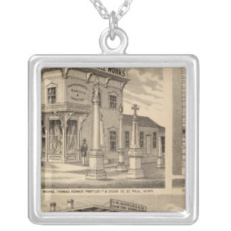 St. Paul, Minneapolis, Minnesota Lithograph Map Silver Plated Necklace