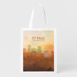 St Paul, Minnesota Skyline IN CLOUDS Reusable Grocery Bag