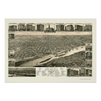 St. Paul, MN Panoramic Map - 1883 Posters