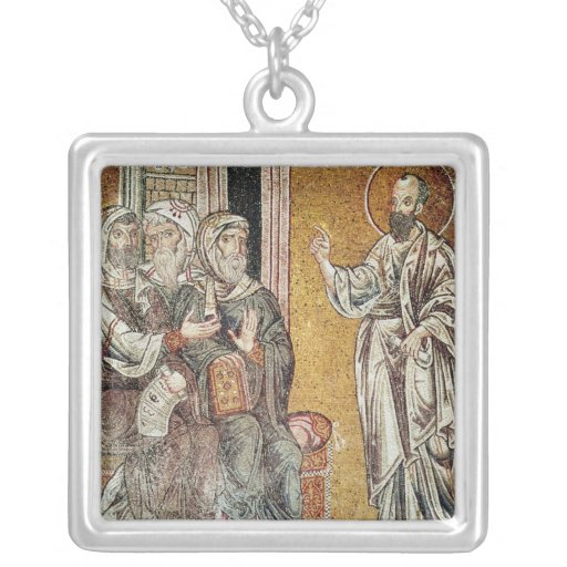 St. Paul Preaching to the Jews Square Pendant Necklace