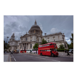 St Paul s Cathedral London England and red bus Poster