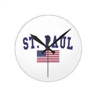 St. Paul US Flag Round Clock