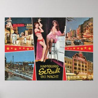 St Pauli by Night Hamburg Germany Vintage Print