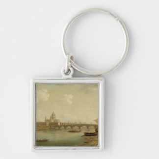 St. Paul's and Blackfriars Bridge, London, c.1770- Silver-Colored Square Keychain