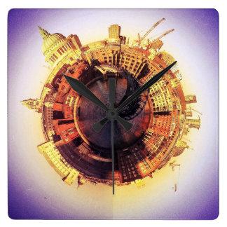 St Pauls and the Milenium Bridge Square Wall Clock