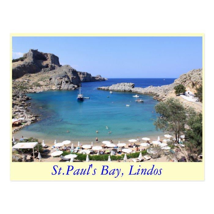 St.Paul's Bay, Lindos Postcard