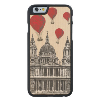 St Pauls Cathedral and Red Hot Air Balloons Carved Maple iPhone 6 Slim Case