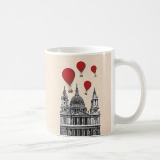 St Pauls Cathedral and Red Hot Air Balloons Coffee Mug