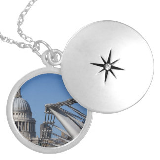 St Pauls Cathedral And The Millenium Bridge Silver Plated Necklace