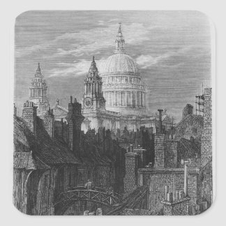 St. Paul's Cathedral and the slums Square Sticker