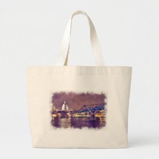 St Paul's Cathedral by Night Fine-Art Painting Large Tote Bag