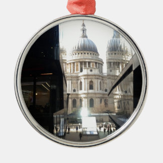 St Paul's Cathedral from One New Change Round Metal Christmas Ornament