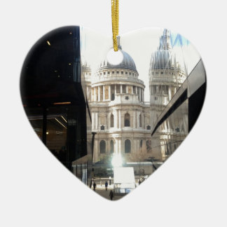 St Paul's Cathedral from One New Change Double-Sided Heart Ceramic Christmas Ornament