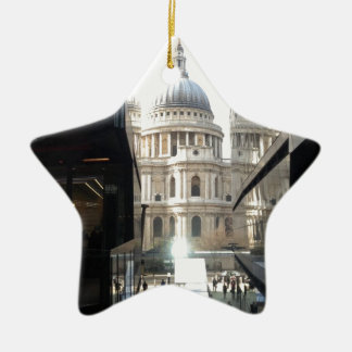 St Paul's Cathedral from One New Change Double-Sided Star Ceramic Christmas Ornament