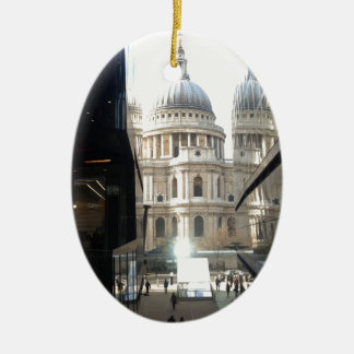 St Paul's Cathedral from One New Change Double-Sided Oval Ceramic Christmas Ornament
