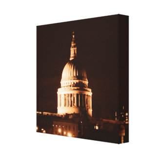St Pauls Cathedral in Sepia & Dry Brush Effect Canvas Print