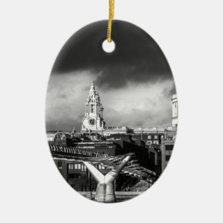 St Pauls Cathedral London Double-Sided Oval Ceramic Christmas Ornament