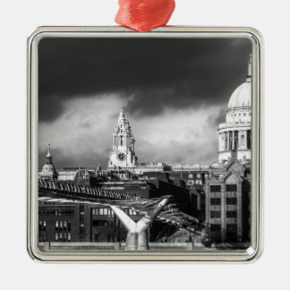 St Pauls Cathedral London Square Metal Christmas Ornament