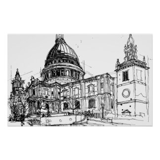 St. Pauls Cathedral, London. Sketch Poster