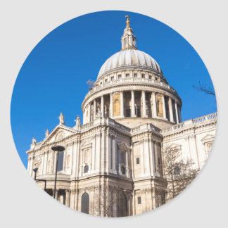 St Paul's Cathedral London with blue sky Classic Round Sticker