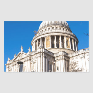 St Paul's Cathedral London with blue sky Rectangular Sticker