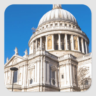St Paul's Cathedral London with blue sky Square Sticker