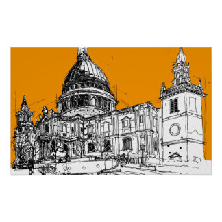 St. Pauls Cathedral, London. Yellow Sky Poster
