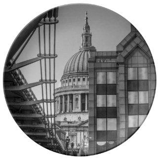 St. Paul's Cathedral & Millennium Bridge, London Porcelain Plate