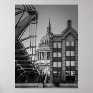St. Paul's Cathedral & Millennium Bridge, London Poster