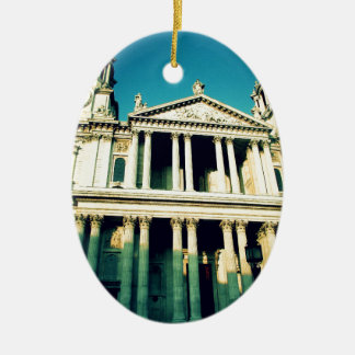 St. Paul's Cathedral Double-Sided Oval Ceramic Christmas Ornament
