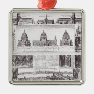 St. Paul's Cathedral Square Metal Christmas Ornament