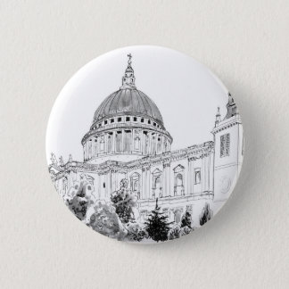St Paul's Cathedral pen and ink drawing Button