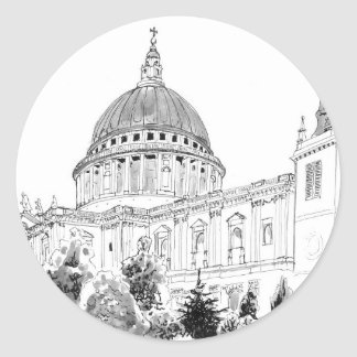 St Paul's Cathedral pen and ink drawing Classic Round Sticker
