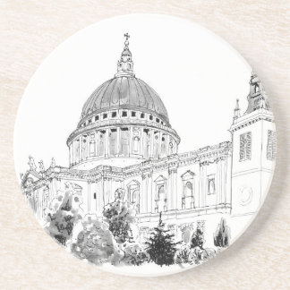 St Paul's Cathedral pen and ink drawing Coaster