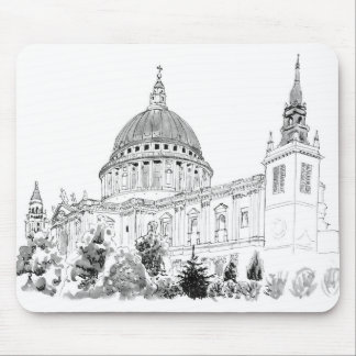 St Paul's Cathedral pen and ink drawing Mouse Pad