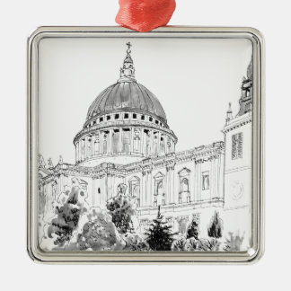 St Paul's Cathedral pen and ink drawing Square Metal Christmas Ornament