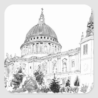 St Paul's Cathedral pen and ink drawing Square Sticker