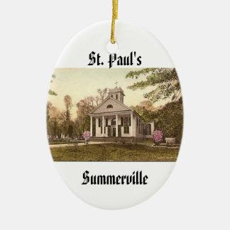 St. Paul's Episcopal Church, Summerville, SC Double-Sided Oval Ceramic Christmas Ornament