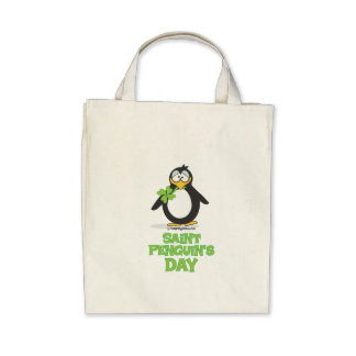 St Penguin's Day BW Canvas Bag