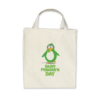 St Penguin's Day - green Canvas Bags