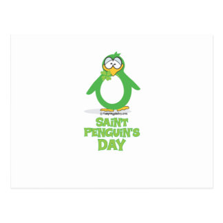 St Penguin's Day - green Post Card