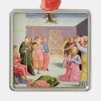 St. Peter and Simon Magus, 15th century Square Metal Christmas Ornament