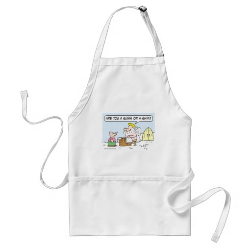 St. Peter ask guy if he's Sunni or Shi'a. Adult Apron