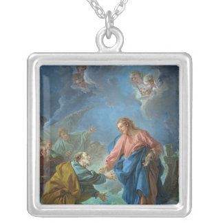 St. Peter Invited to Walk on the Water, 1766 Square Pendant Necklace