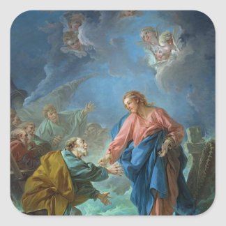 St. Peter Invited to Walk on the Water, 1766 Square Sticker
