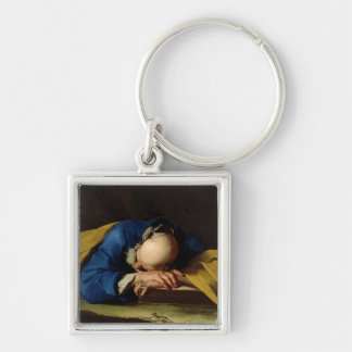St. Peter or St. Jerome Sleeping, c.1735-39 Silver-Colored Square Keychain