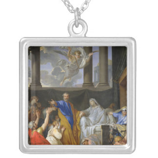 St. Peter Resurrecting the Widow Tabitha, 1652 Square Pendant Necklace